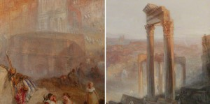 Details of the Arch of Severus and the Temple of Vespasian from J. M. W. Turner&#039;s Modern Rome - Campo Vaccino