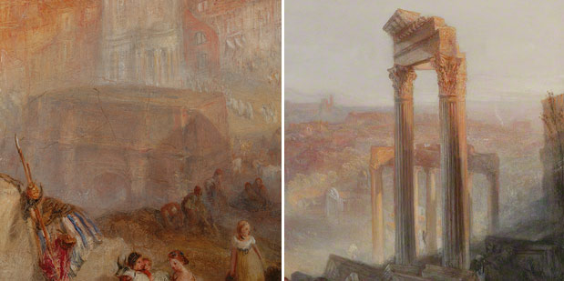 Details of the Arch of Severus and the Temple of Vespasian from J. M. W. Turner's Modern Rome - Campo Vaccino
