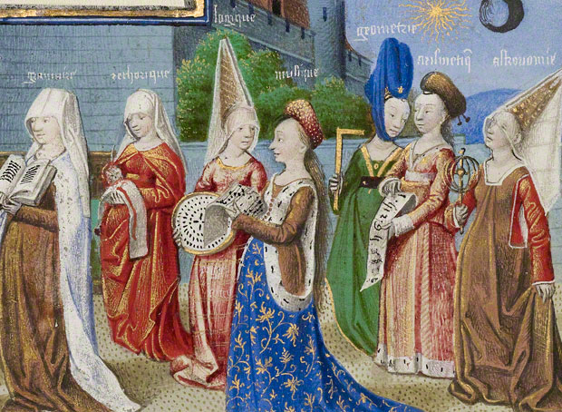<em>Philosophy Presenting the Seven Liberal Arts to Boethius</em> (detail), miniature in a French manuscript of <em>The Consolation of Philosophy</em> attributed to the Coëtivy Master, about 1460–70