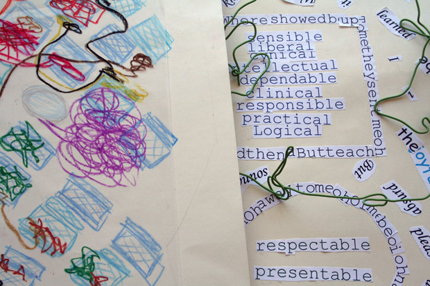 Student work made from Mark Bradford's RE-RE-Process activity in Open Studio