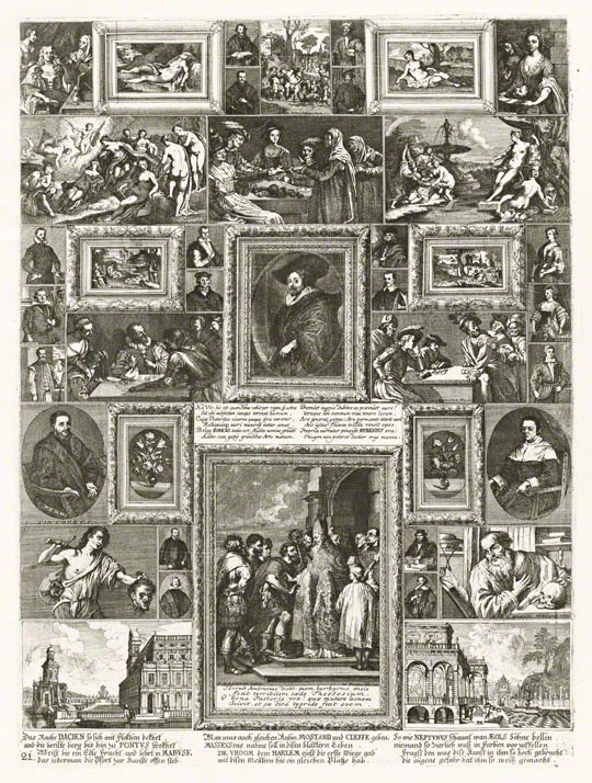 Fictive Wall of Paintings from the Imperial Collection in Vienna, Frans van Stampart and Anton Joseph von Prenner, etching in <em>Prodromus</em> (Vienna, 1735), pl. 21. The Getty Research Institute, 88-B2961