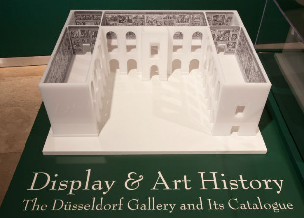 Architectural model of the Dusseldorf Gallery in the exhibition, showing the arrangement of paintings by room