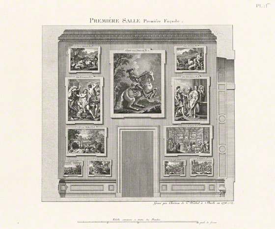 First Room, First Façade of the Düsseldorf Gallery, Nicolas de Pigage and Christian von Mechel, etching in <em>La galerie électorale du Dusseldorff; ou, Catalogue raisonné et figuré de ses tableaux</em> (Basel, 1778), pl. 1. The Getty Research Institute, 70670