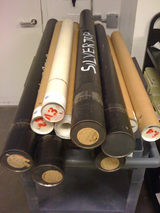 Tubes of drawings in the John Lautner Archive at the Getty Research Institute, 2007.M.13