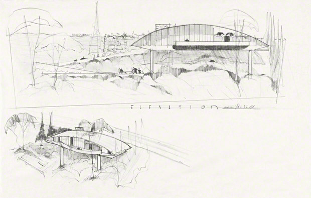 Garcia House exterior elevation and aerial, John Lautner, 1962. The John Lautner Archive, Research Library at the Getty Research Institute, 2007.M.13. © The John Lautner Foundation