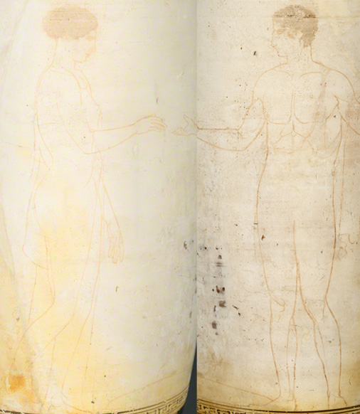Composite image of the &lt;i&gt;lekythos&lt;/i&gt; showing the faint painted outlines of the two figures