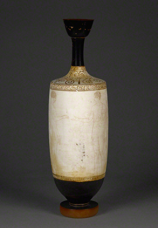 Oil jar (<em>lekythos</em>) with a funerary scene, attributed to the Achilles Painter, Greek, made in Athens, about 435–430 B.C. Terracotta, 17 3/4 in high x 5 5/16 in. diam. The J. Paul Getty Museum, 2011.14