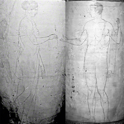 Composite image of the &lt;i&gt;lekythos&lt;/i&gt; under UV light showing the more cearly readable outlines of the two figures