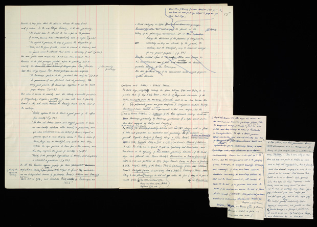 Spread from Nikolaus Pevsner's handwritten manuscript of Visual Planning and the Picturesque