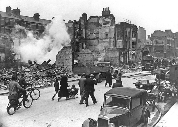 Large areas of London were damaged or destroyed by bombing during World War II.