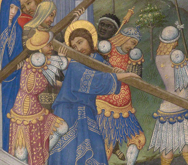 Soldiers dressed to the nines in <em>The Way to Calvary</em> (detail) in a French book of hours, Spitz Master, about 1420