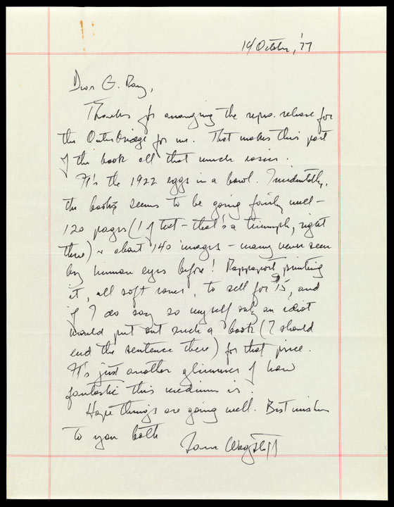 Letter from Samuel Wagstaff to gallerist Ray Hawkins dated October 14, 1977, describing his Book of photographs from the collection of Sam Wagstaff