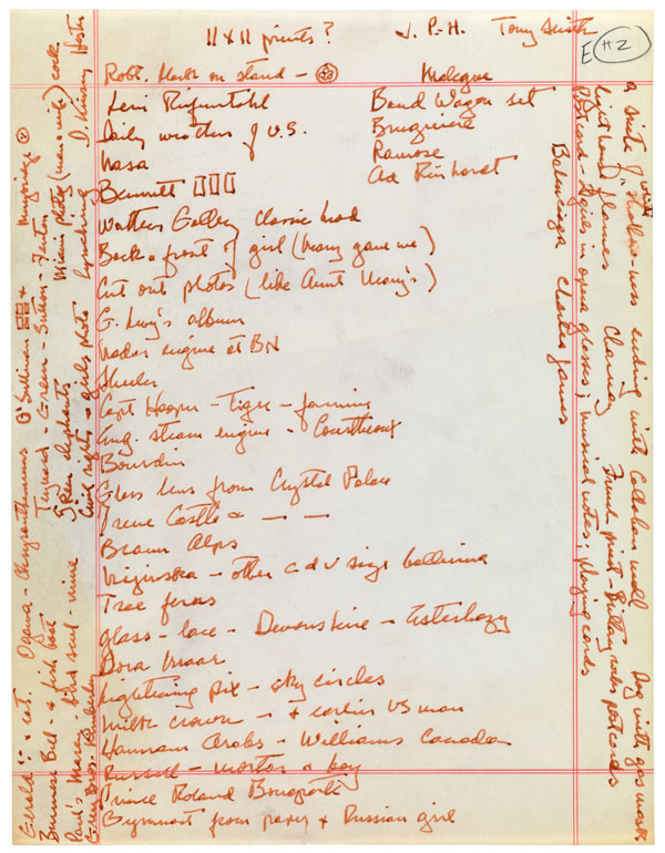 Exhibition planning notes by Samuel J. Wagstaff / The Getty Research Institute, Samuel Wagstaff papers, 1960-1987, 2005.M.46. Gift of The Robert Mapplethorpe Foundation, Inc.