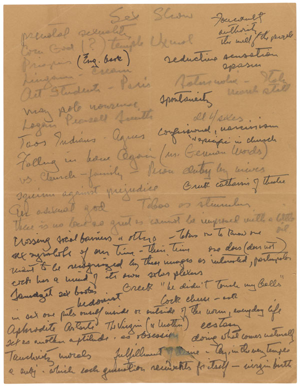 Exhibition planning notes by Samuel J. Wagstaff, 1980s / The Getty Research Institute, Samuel Wagstaff papers, 1796-1987, 2005.M.46. Gift of The Robert Mapplethorpe Foundation, Inc.