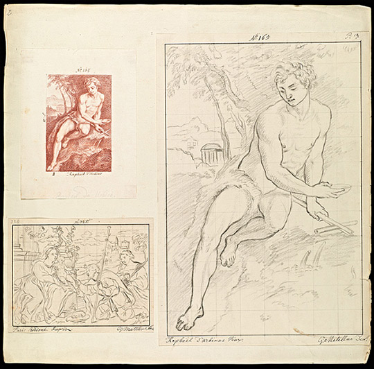 Drawings created for the Galeriewerk, including sketches after St. John the Baptist in the Wilderness by Daniele da Volterra