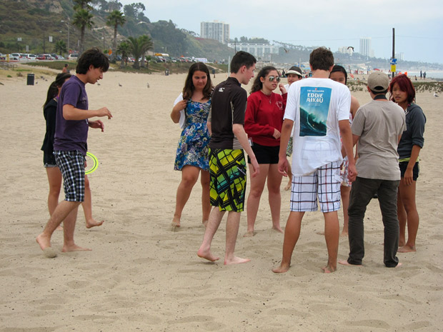 Students from the Getty Villa's Academia Aestiva Latina at Will Rogers State Beach