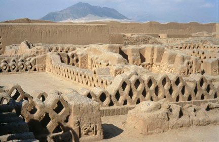 Earthen structures in the vast adobe city of Chan Chan, capital of the Chimu Kingdom in present-day Perum