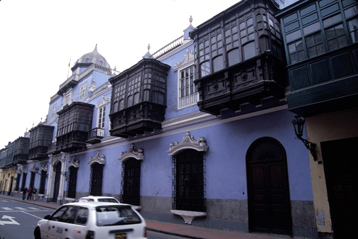 Street in present-day Lima, Peru, showing earthen commercial and residential structures constructed during the colonial and republican eras
