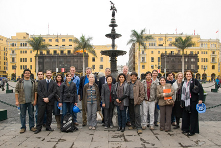 Peer review group, project partners, and engineering students in Lima, Peru, for a gathering for the Seismic Retrofitting Project