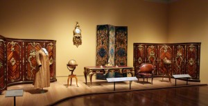 Installation view of Paris: Life & Luxury at the J. Paul Getty Museum at the Getty Center