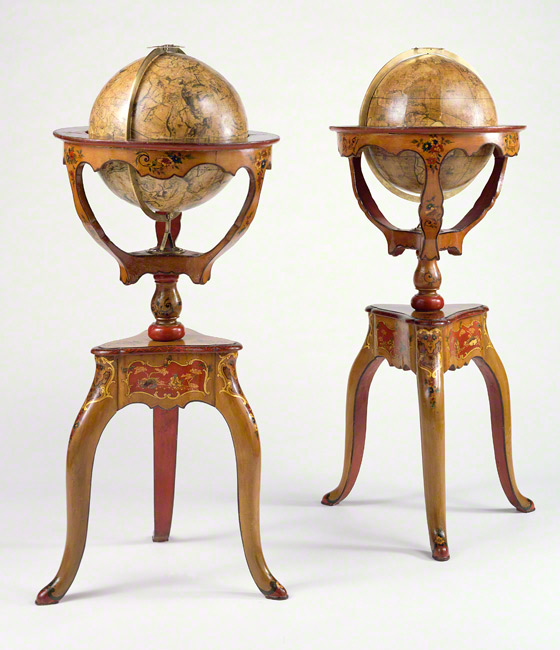Pair of globes / Jean-Antoine Nollet, scientist; maps by illustrators Louis Borde and Nicolas Bailleul le jeune