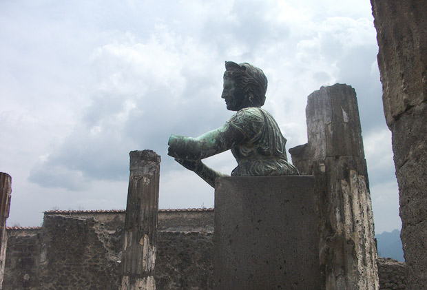 Chiurazzi replica of a Roman bronze sculpture of Diana in the ruins of Pompeii