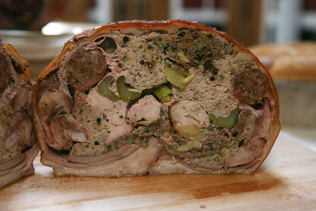 Cross-section of a stuffed pig served for At the Roman Table at the Getty Villa