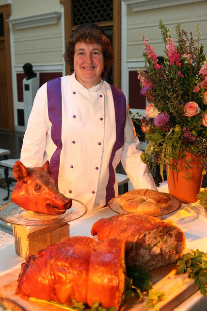 Sally Grainger with porcellum hortolanum at the serving table for At the Roman Table at the Getty Villa