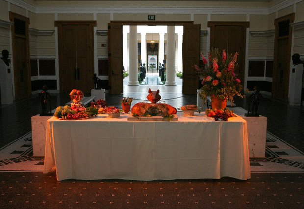 Serving table for At the Roman Table at the Getty Villa