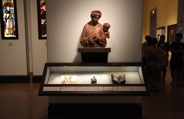 Display of sacred art at the Getty Center, North Pavilion