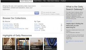 Landing page for the new Getty Search Gateway