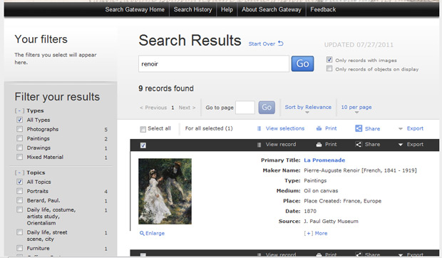 Sample search results page within Getty Search Gateway