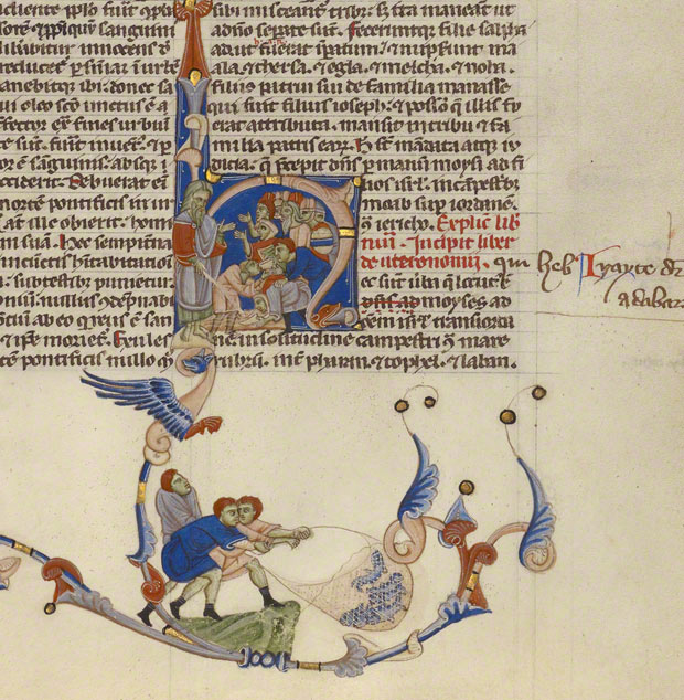 Initial H: Moses Striking Water from the Rock and Israelites Drawing Water in the Abbey Bible / Italian