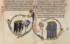 Dominican and Franciscan Friars Singing at Lecterns, Conducted by Christ in the Abbey Bible / Italian