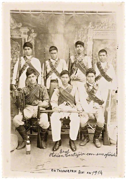 Gral. Adrian Castrejón con sus oficiales (General Adrian Castrejón with his officers) / Sara Castrejón Reza