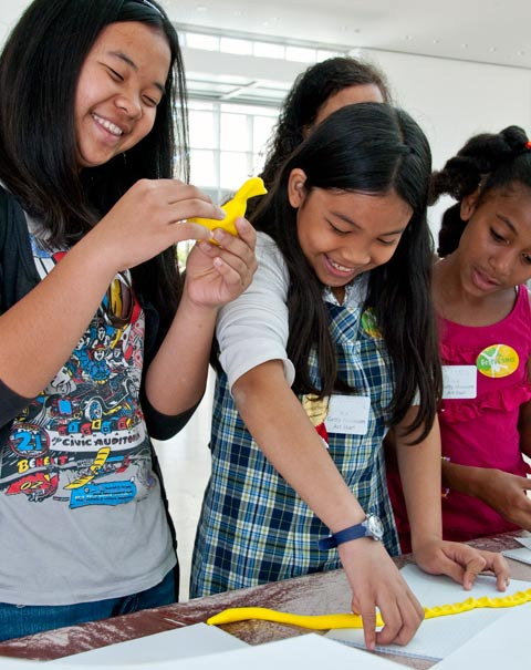 Students complete an art activity at the Getty Center for the Art Together program's 2011 culminating event