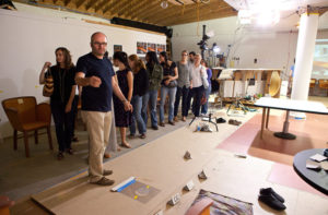 Thomas Demand in his Culver City studio with visitors from the Getty Research Institute