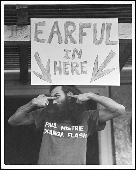 George Herms at Earful, a Tap City Circus raffle in Los Angeles, 1972