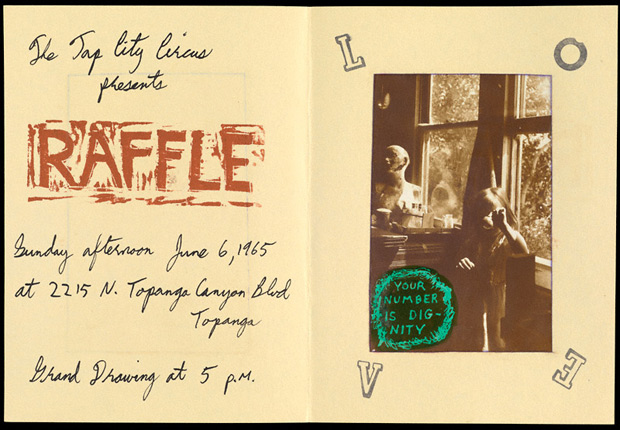 Announcement for Raffle, a Tap City Circus raffle in Los Angeles, June 6, 1965. Designed by George Herms