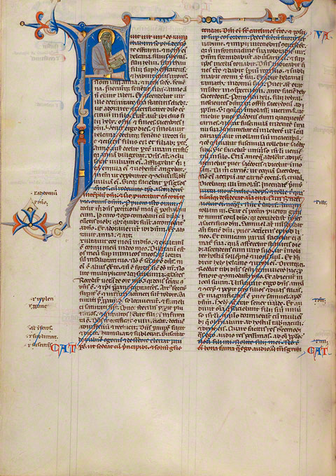 Decorated Canceled Page (folio 96v) in the Abbey Bible