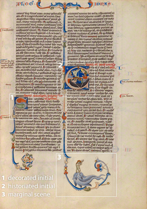 Diagram of elements on a page of the Abbey Bible (Initial E: Jonah, folio 347)