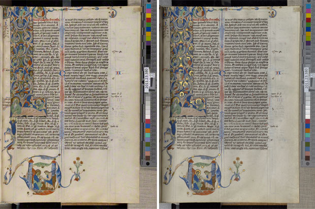 Two photographs of a page from the Abbey Bible, showing standard photography at left and the gold shot at right