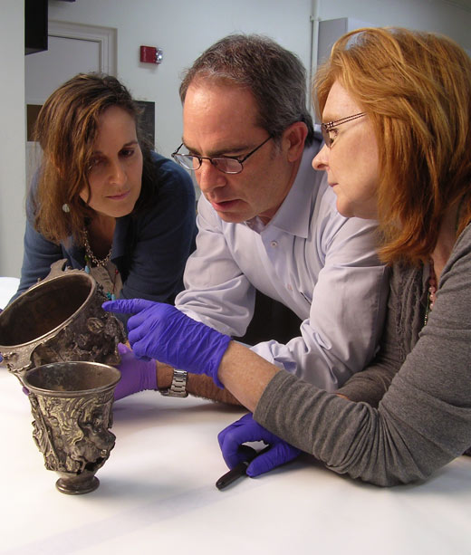 Mathilde Avisseau-Broustet, Eduardo Sanchez, and Susan Lansing Maish with the Berthouville Treasure