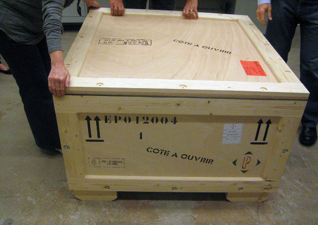 One of the eight crates in which the Berthouville Treasure was shipped from Paris to Los Angeles