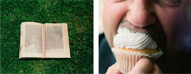 I See What You're Saying (book and man with cupcake) / Eileen Cowin