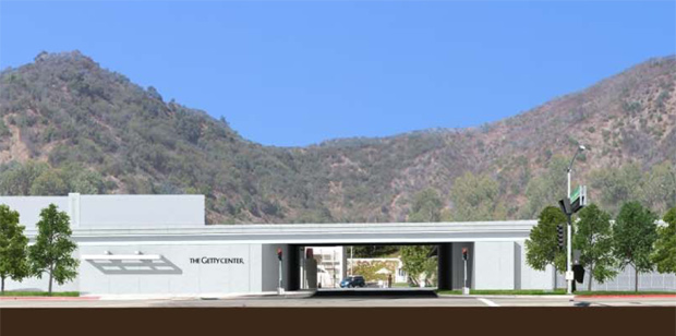 Architect's rendering of redesigned Getty Center entrance