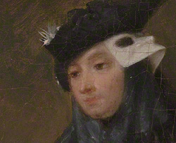 Detail of the cicisbeo figure in The Painter in His Studio / Pietro Longhi