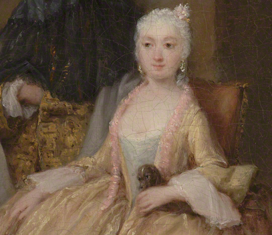 Detail of seated lady in The Painter in His Studio / Pietro Longhi