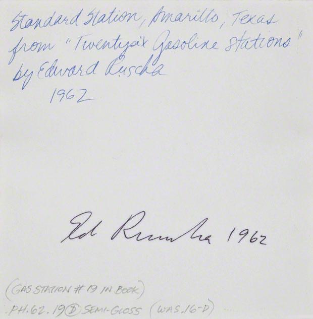 Verso of Standard, Amarillo, Texas / Ed Ruscha