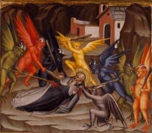Saint Anthony with demons in Polyptych with Coronation of the Virgin and Saints / Cenni di Francesco di Ser Cenni